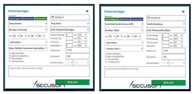 Toeslagen worden automatisch berekend - SecuSoft Software Beveiligingsbedrijven